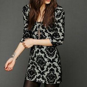 Free People Velvet & Lace Bodycon Dress